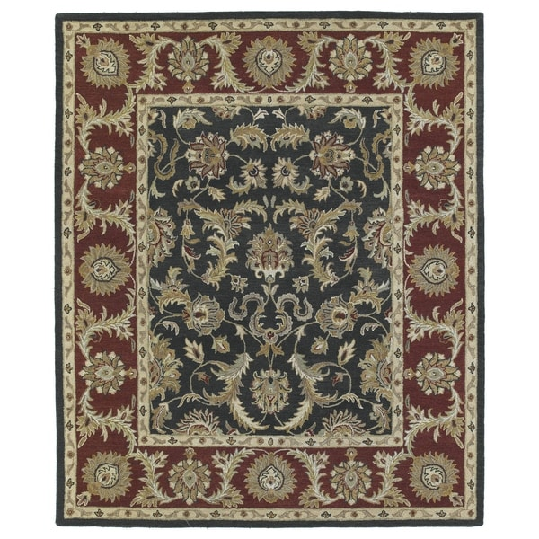 Hand-Tufted Joaquin Black Kashan Wool Rug (5' x 7'9)