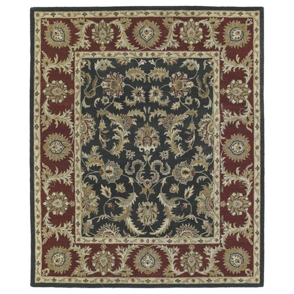 Hand-Tufted Joaquin Black Kashan Wool Rug - 5' x 7'9