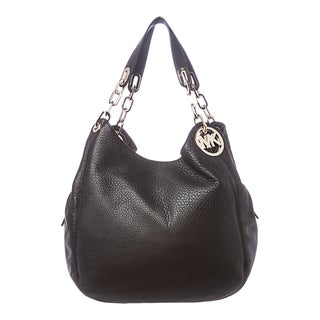 MICHAEL Michael Kors 'Fulton' Large Black Leather Shoulder Bag