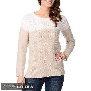 Ply Cashmere Women's Cable Knit Colorblock Cashmere Sweater