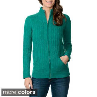 Ply Cashmere Women's Cable Knit Zip Front Cashmere Sweater