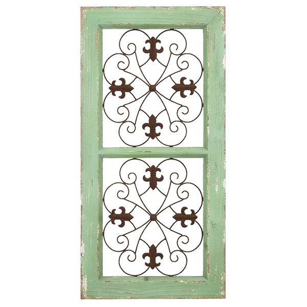 Traditional rustic finish metal and wooden wall panel free shipping today - Metal and wood wall decor ...