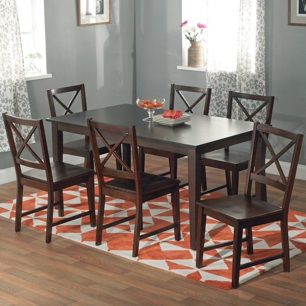 simple living cross back espresso 7 piece dining set free shipping