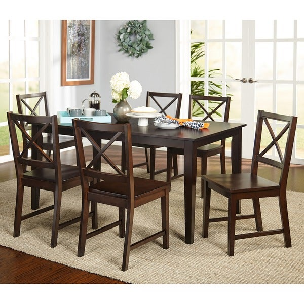 Simple Living Cross Back Espresso 7 Piece Dining Set