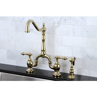 victorian high spout polished brass bridge kitchen faucet