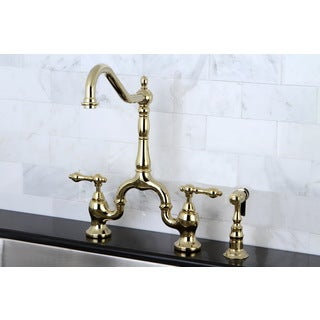 Victorian High Spout Polished Brass Bridge Double-handle Kitchen Faucet