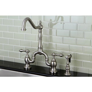 Victorian High Spout Satin Nickel Bridge Double Handle Kitchen Faucet