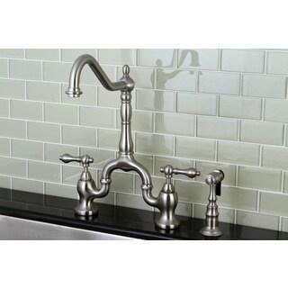 Victorian High Spout Satin Nickel Bridge Double Handle Kitchen Faucet