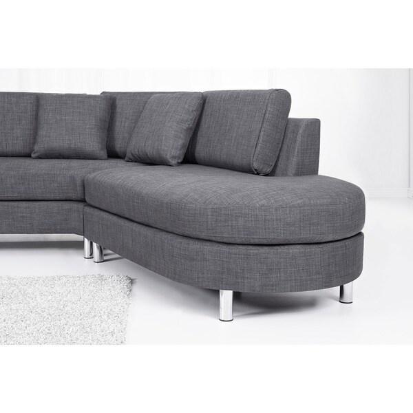 The HAGEN Contemporary Italian Design Grey Fabric Sectional Sofa Set