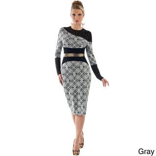 Women's Inset Metallic Midi Gown