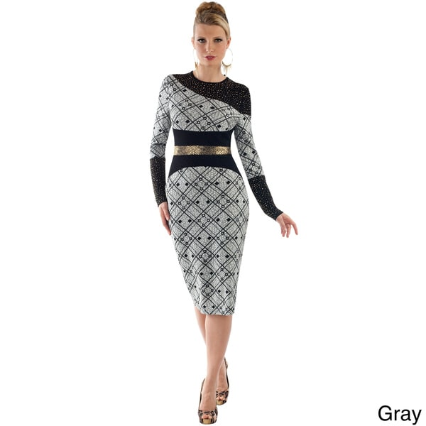 Women's Inset Metallic Midi Gown