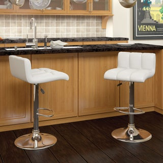 CorLiving Low Back Leatherette Adjustable Bar Stools (Set of 2)