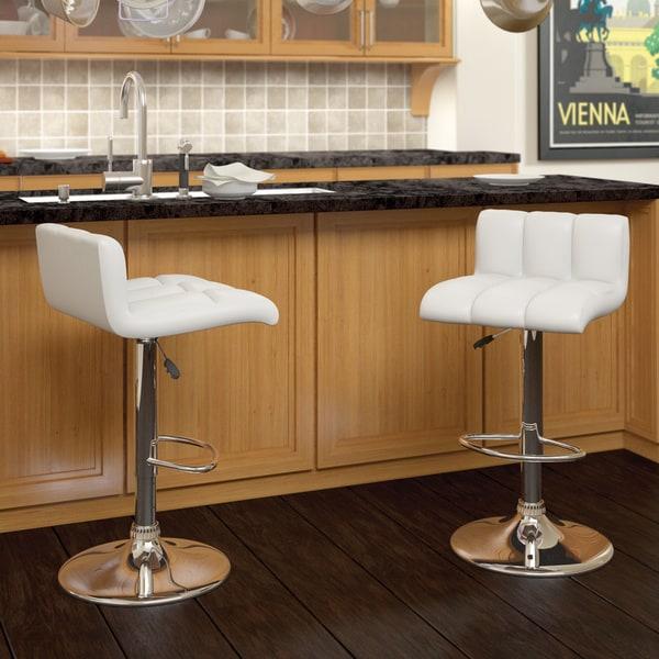 CorLiving Low Back Leatherette Adjustable Barstools (Set of 2)