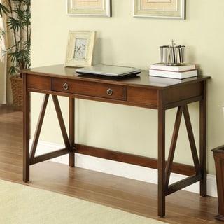 Linon Tiziano Antique Tobacco Brown Single Drawer Writing Desk