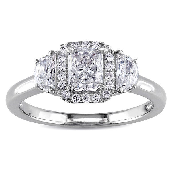 Miadora 14k White Gold 1ct TDW Diamond Three Stone Ring