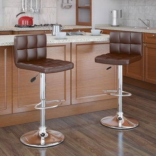 CorLiving Square Leatherette Adjustable Barstools (Set of 2)