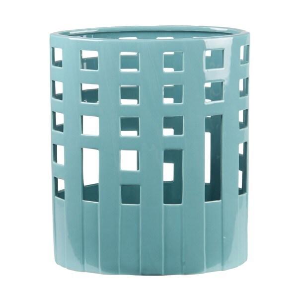 Privilege Rectangle-pierced Bondi Blue Wide Ceramic Vase. Opens flyout.