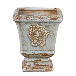 Privilege Rectangular Washed Blue Ceramic Vase