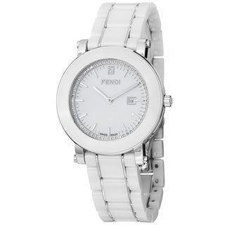 Fendi Women's F642140D 'Ceramic' White Diamond Dial White Bracelet Watch