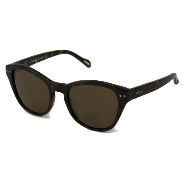 Tortoise-and-Brown Fossil Women's Macie Polarized/ Cat-Eye Sunglasses