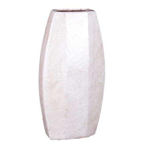 Privilege 17-inch High White Ceramic Vase