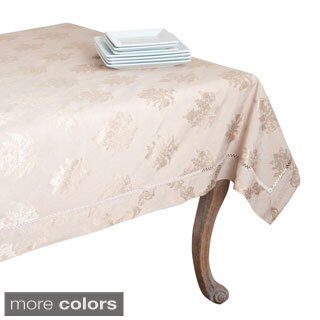Drawnwork Damask Cotton-blend Tablecloth