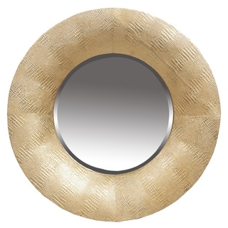 Privilege Hammered Gold Round Beveled Wall Mirror