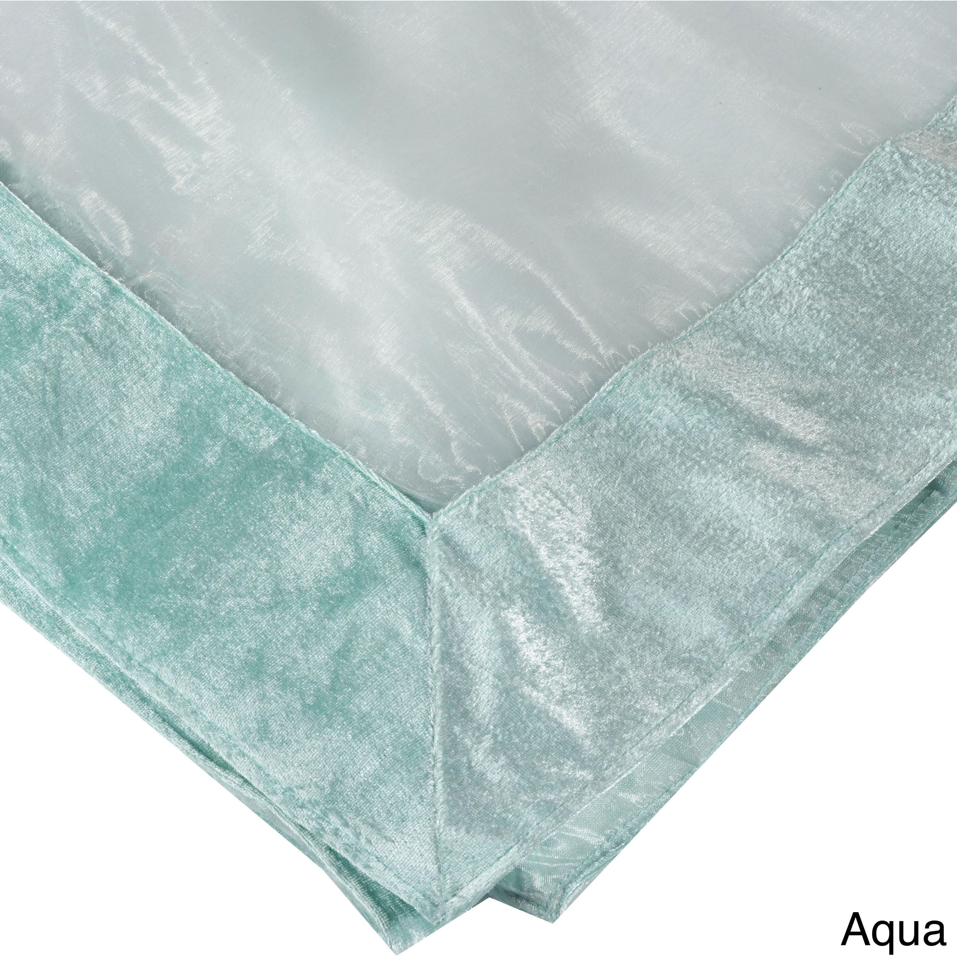 Saro Sheer Velvet Trimmed Table Linens (Aqua Topper-54 in...