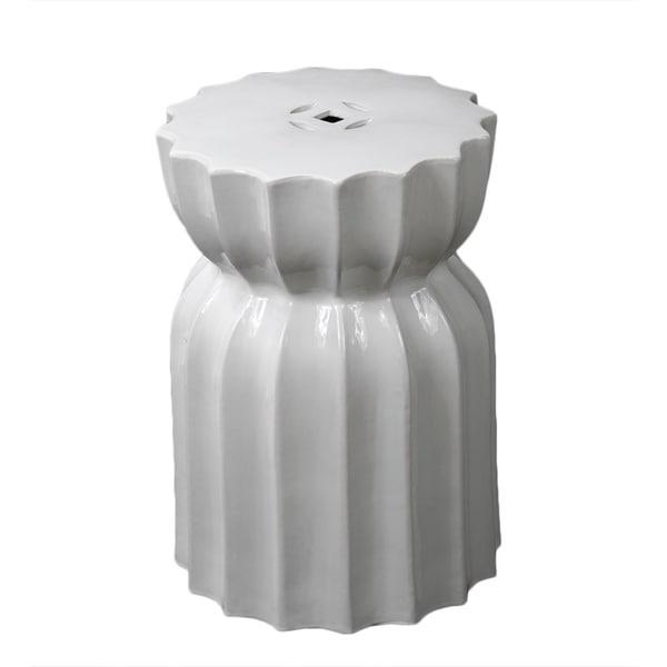 Shop Privilege White Ceramic Garden Stool Free Shipping