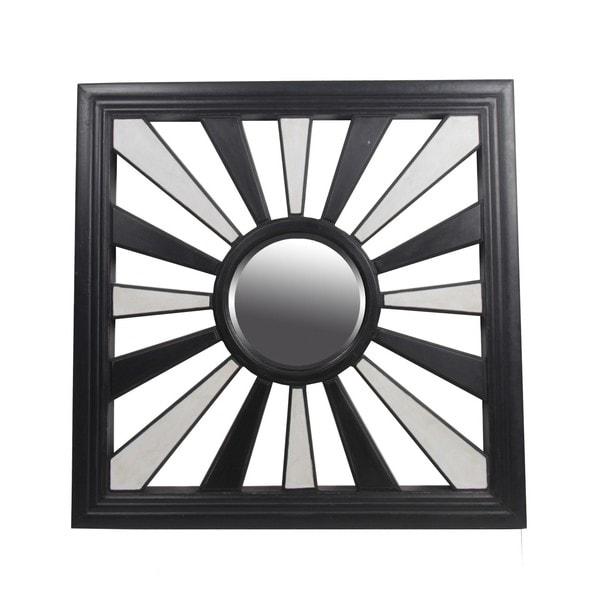 Privilege Black and White Square Beveled Glass Mirror