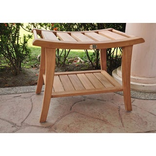 Teak Shower/Pool Spa Bench with Natural Finish (Fully Assembled)