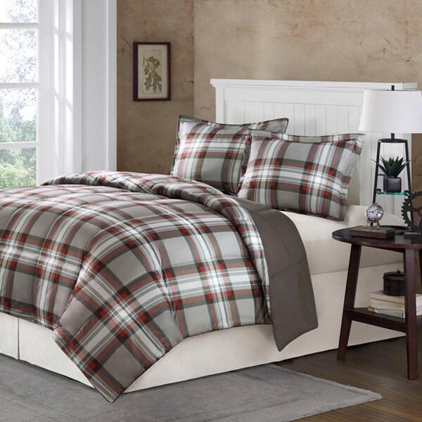 Comfort Classics Auburn Plaid Down Alternative 3-piece Comforter Set