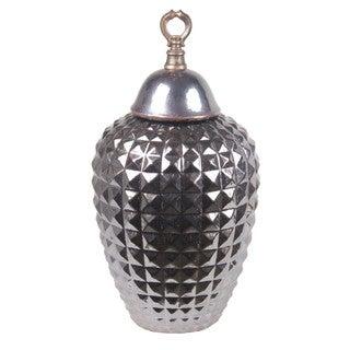 Privilege Large Lidded Silvertone Ceramic Jar