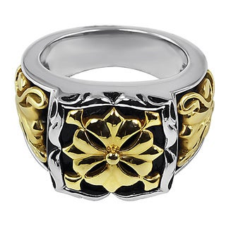 Contessa 18k Yellow Gold and Sterling Silver French Fleur Ring