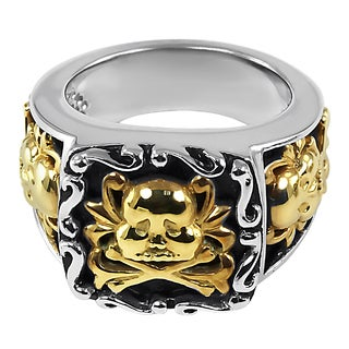 Contessa 18k Yellow Gold and Sterling Silver Skull and Crossbones Ring