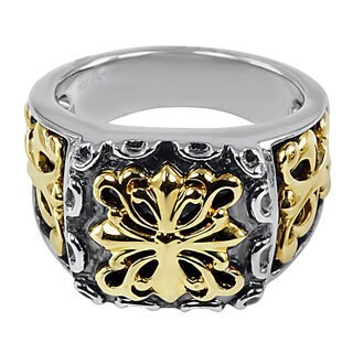 Contessa 18k Yellow Gold and Sterling Silver Men's French Fashion Ring
