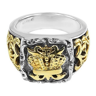 Contessa 18k Yellow Gold and Sterling Silver Men's British Crown Ring