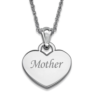 Silvertone 'Mother' Engraved Heart Necklace