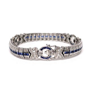 Neda Behnam Diamonds for a Cure 14k White Gold 7/8ct TDW Diamond and Blue Sapphire Tennis Bracele