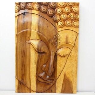 Handmade 'Ushnisha' Wooden Buddha Panel (Thailand)
