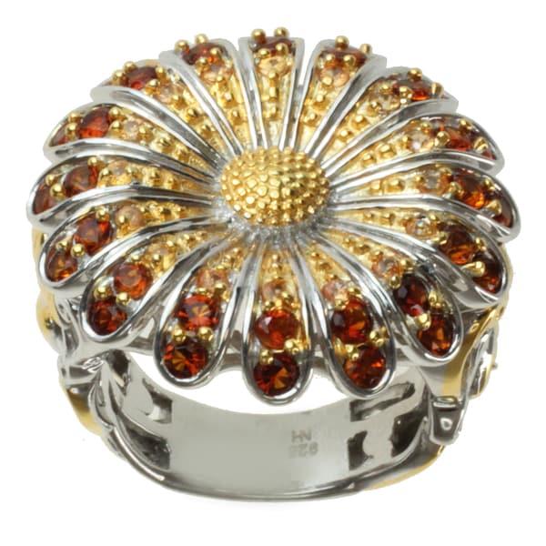 Michael Valitutti Two-tone Madiera Citrine and Orange Sapphire 'Flower' Ring
