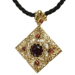 Dallas Prince Gold over Silver Garnet and White Sapphire Necklace