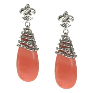 Dallas Prince Sterling Silver Coral Drop and Marcasite Earrings