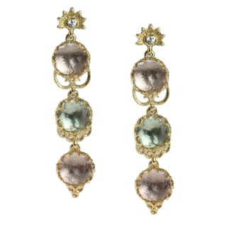 Dallas Prince Gold over Silver Lavender Amethyst, Sky Blue Topaz and White Zirconia Earrings