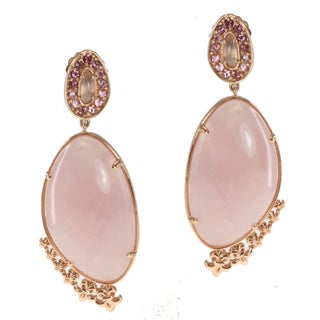 Dallas Prince Gold over Silver Rose Quartz and Pink Tourmaline Earrings