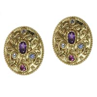 Dallas Prince Gold over Silver Amethyst, Rhodolite and Tanzanite Earrings