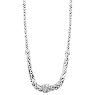 Fremada 14k White Gold Graduated Weave with Diamond Accent and Cubic Zirconia Barrel Necklace (18 inch)