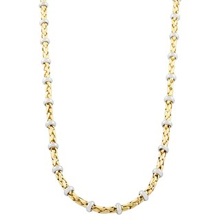 Fremada 14 Karat Two-tone Gold Weave and Ring Station Necklace (18 inch)