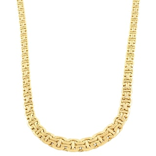 Fremada 14k Yellow Gold Flat Graduated Byzantine Necklace (17 inches)