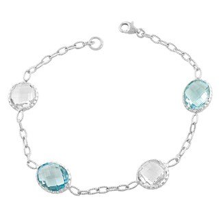 Fremada Sterling Silver Alternate Oval Blue Topaz and Round Clear Quartz Bracelet (7.5 inch)